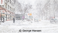 Broadway at 80th Street, Winter Storm Grayson (Bomb Cyclone). Manhattan, New York City (NYC), early winter 2018.